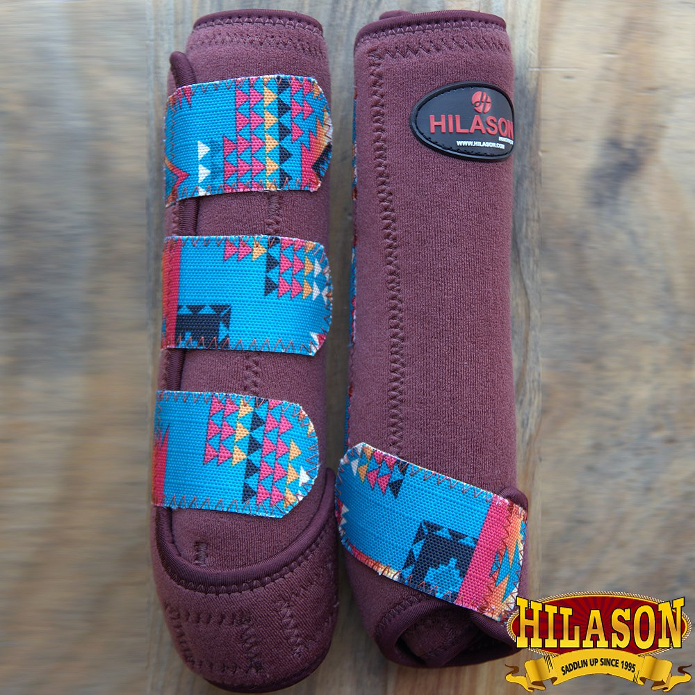 LARGE HILASON BROWN AZTEC HORSE REAR LEG PROTECTION ULTIMATE SPORTS BOOTS PAIR