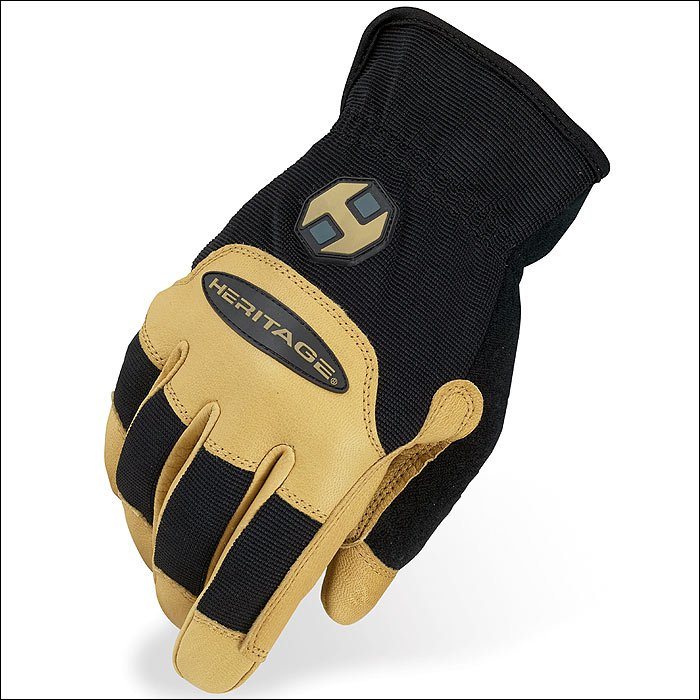 8 SIZE HERITAGE STABLE WORK GLOVES HORSE EQUESTRIAN BLACK/TAN