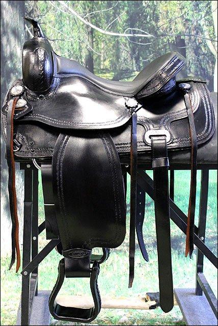 TO105BK-F HILASON TREELESS WESTERN LEATHER TRAIL PLEASURE HORSE RIDING SADDLE 15