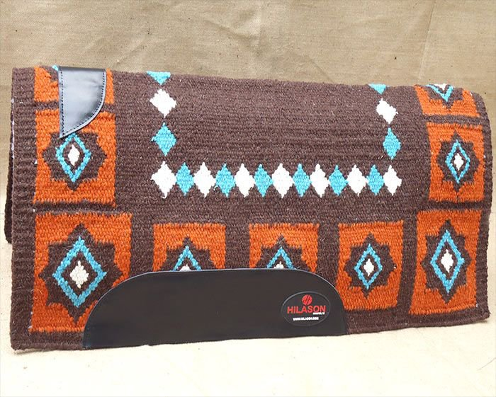 HILASON WESTERN NEW ZEALAND WOOL HORSE SADDLE BLANKET BROWN ORANGE TURQUOISE