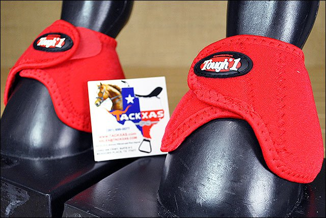 RED TOUGH1 MEDIUM NO TURN QUICK WRAP EXTREME VENTED NEOPRENE HORSE BELL BOOTS