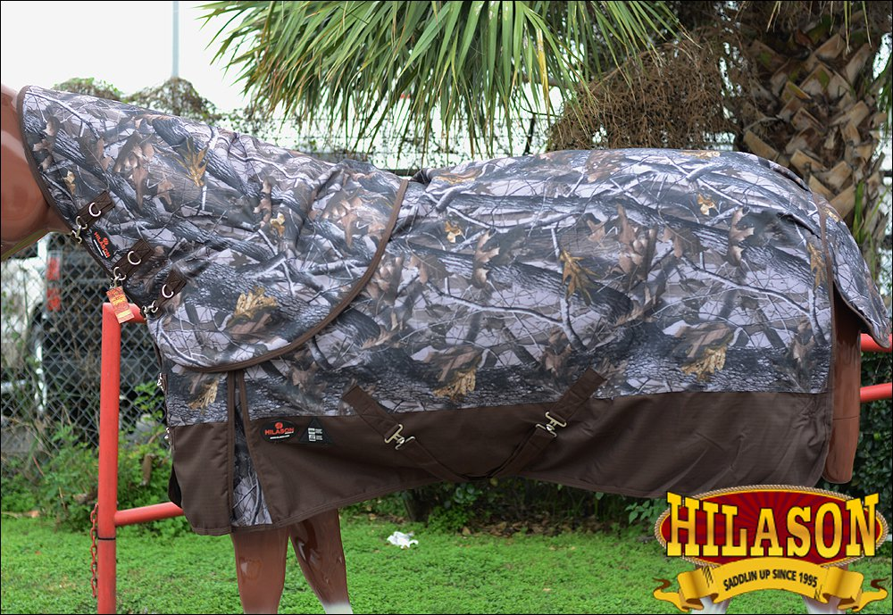 """72"""" HILASON 1200D WATERPROOF POLY TURNOUT HORSE BLANKET NECK COVER CAMO PRINTS"""