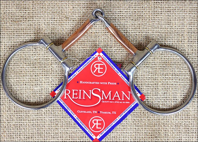 REINSMAN OFFSET DEE 3/8 in. SMOOTH COPPER HORSE SNAFFLE BITS DEE RING