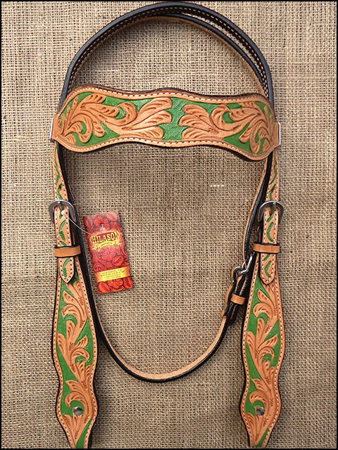 HILASON WESTERN LEATHER HORSE HEADSTALL BRIDLE LIGHT OIL GREEN HAND PAINT