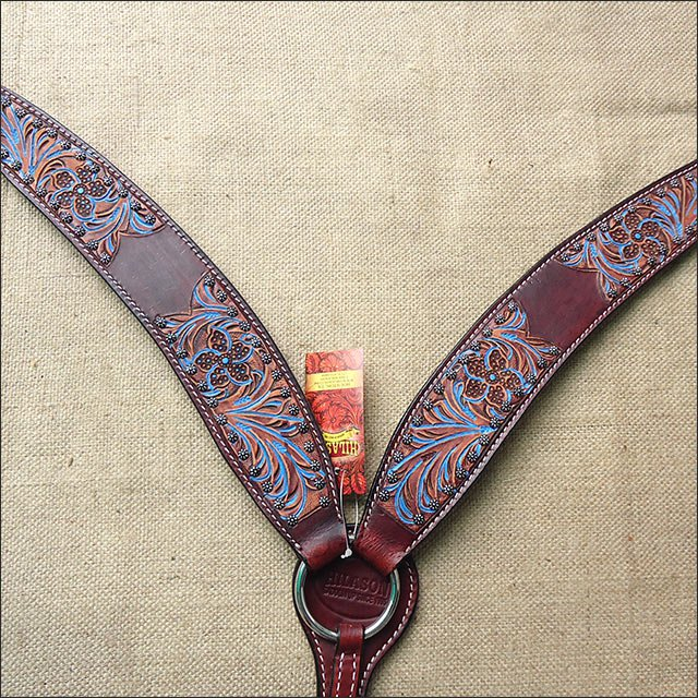 HILASON WESTERN LEATHER HORSE BREAST COLLAR MAHOGANY TURQUOISE HAND CARVED