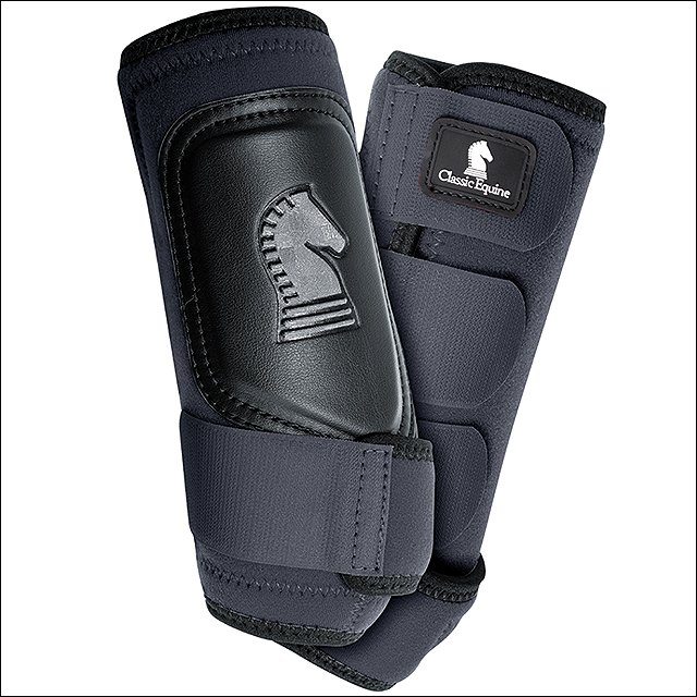 LARGE CLASSIC EQUINE CROSSFIT NEOPRENE HORSE HIND LEG BOOTS PAIR BLACK