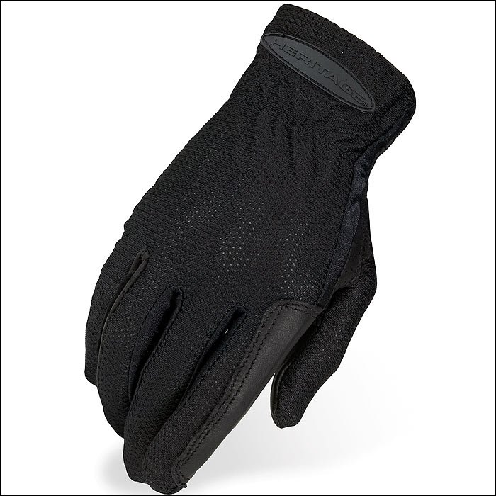 11 SIZE HERITAGE PRO-FLOW SUMMER SHOW RIDING GLOVES HORSE EQUESTRIAN - BLACK