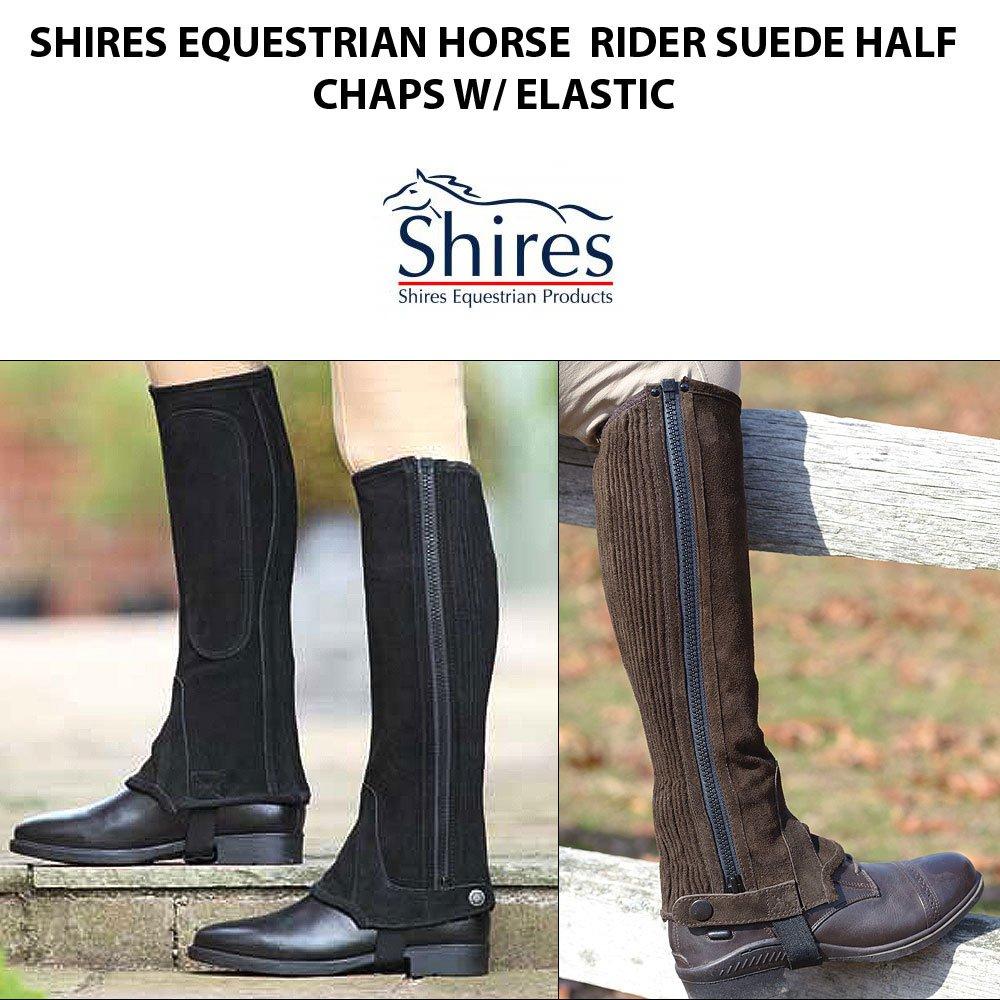 SHIRES EQUESTRIAN HORSE TACK RIDER SUEDE HALF CHAPS W/ ELASTIC