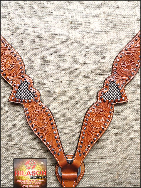 HILASON WESTERN LEATHER HORSE BREAST COLLAR LIGHT OIL BLING RHINESTONES INLAY