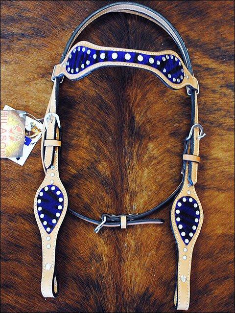 HILASON WESTERN LEATHER HORSE BRIDLE HEADSTALL PURPLE ZEBRA