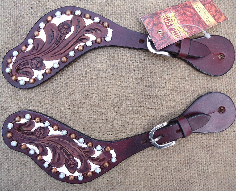 HILASON WESTERN FLORAL HAND TOOLED LEATHER SPUR STRAPS MAHOGANY WHITE
