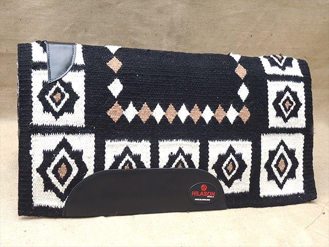 FE299-F HILASON WESTERN NEW ZEALAND WOOL HORSE SADDLE BLANKET BLACK WHITE