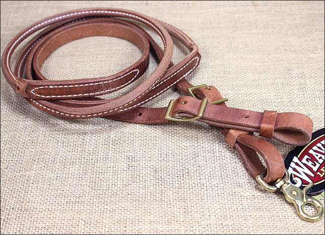 WEAVER RUSSET HARNESS LEATHER ROUND ROPER AND CONTEST HORSE REIN TACK WESTERN