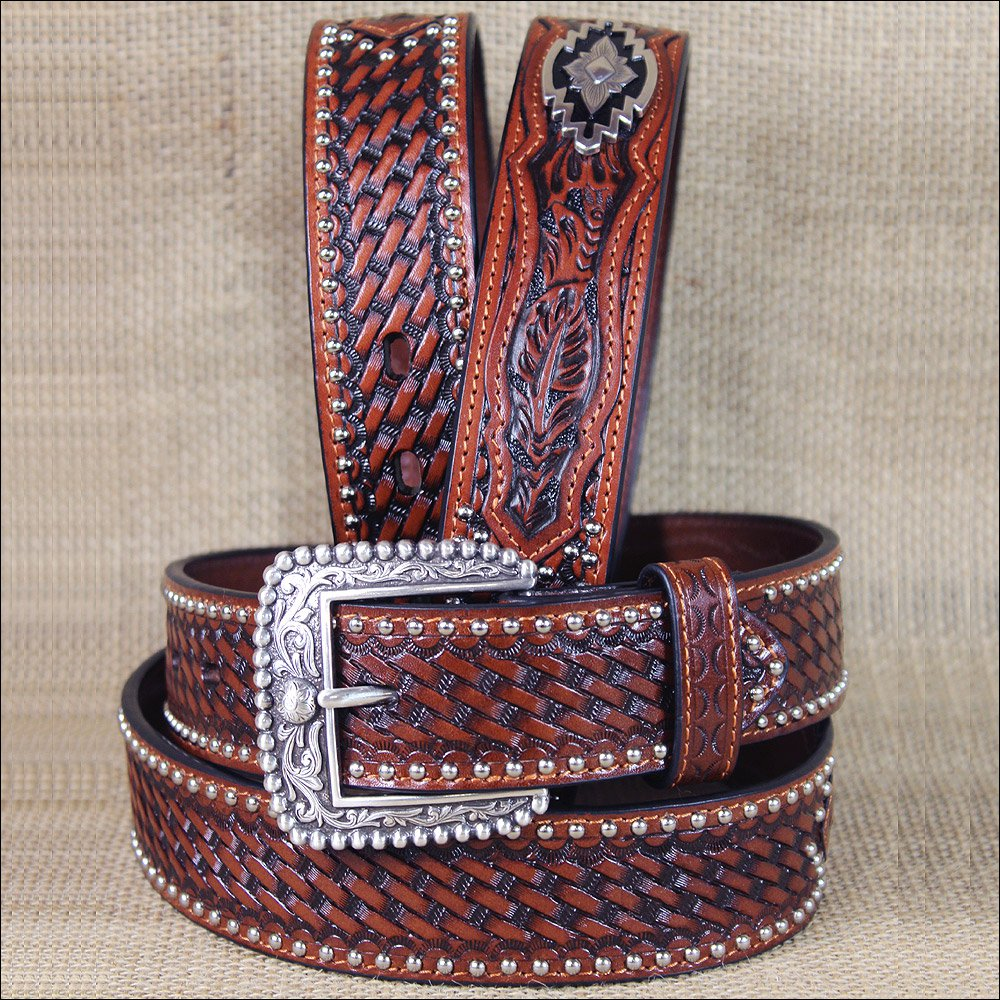 34 INCH WESTERN ARIAT  MENS BELT CONCHOS LEATHER SANDS ANTIQUE BROWN