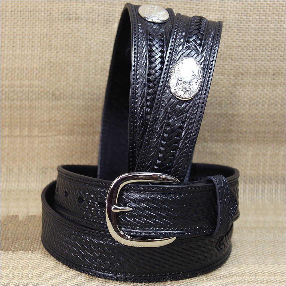 "36"" SILVER CREEK BLACK SIDEWINDER EMBOSSED TOOLING LEATHER MEN BELT OVAL CONCHO"