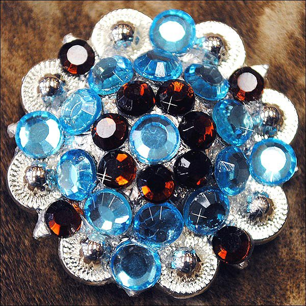 TURQUOISE BROWN CRYSTAL 1-1/4in BERRY CONCHO RHINESTONE SADDLE TACK
