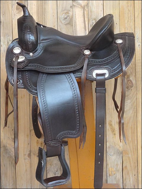 TO109DB-F HILASON TREELESS WESTERN TRAIL PLEASURE RIDING BARREL RACING SADDLE 16