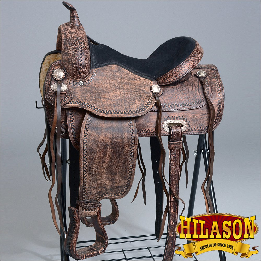 "TT104RO 14"" HILASON WESTERN FLEX TREE ENDURANCE TRAIL RIDING HORSE SADDLE"