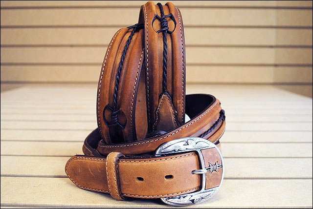 34in. JUSTIN FENCED IN WESTERN LEATHER MEN BELT - BROWN SILVER ENGRAVED BUCKLE
