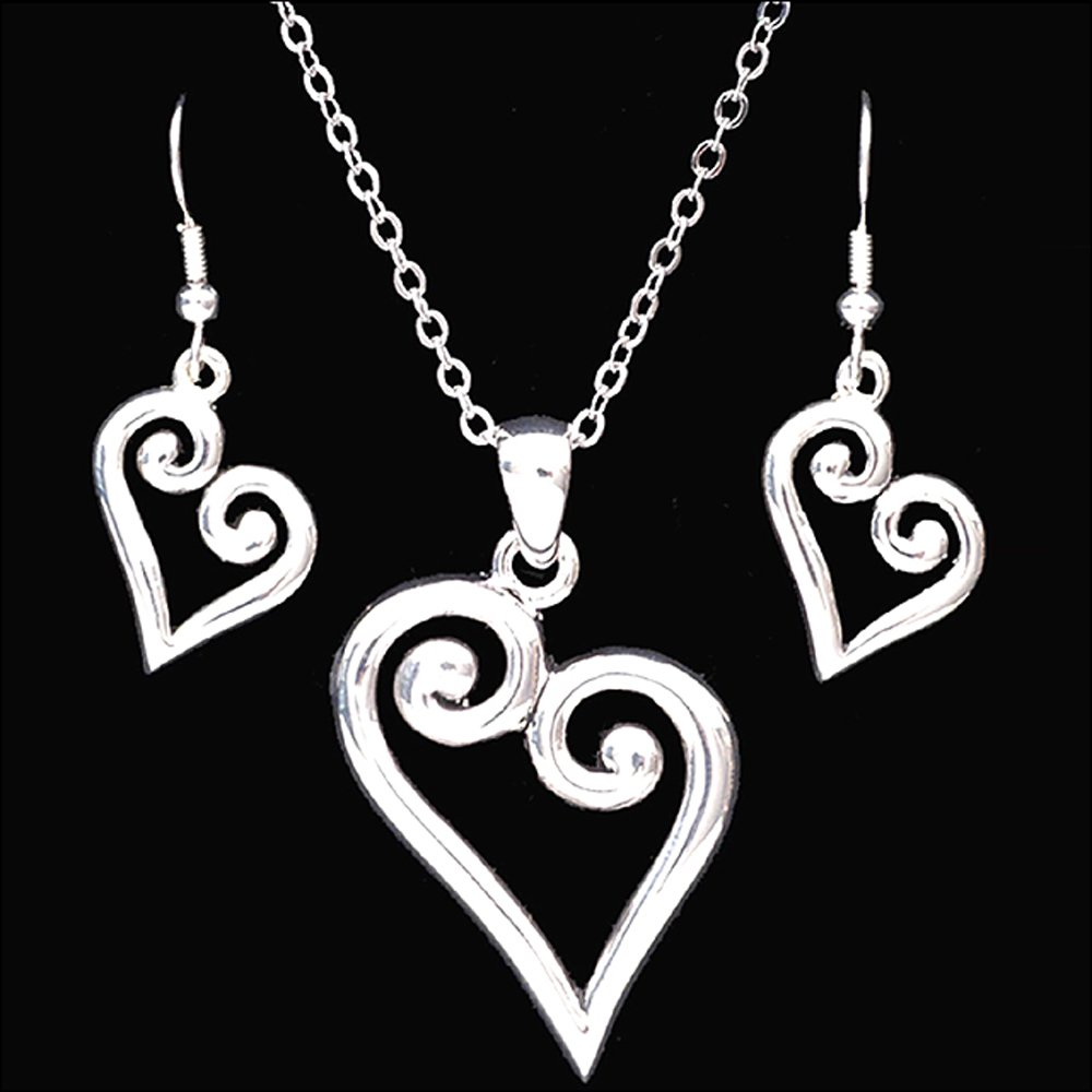 3D SILVER STRIKE SMOOTH LADIES WOMAN HEART PENDANT EARRINGS NECKLACE SET
