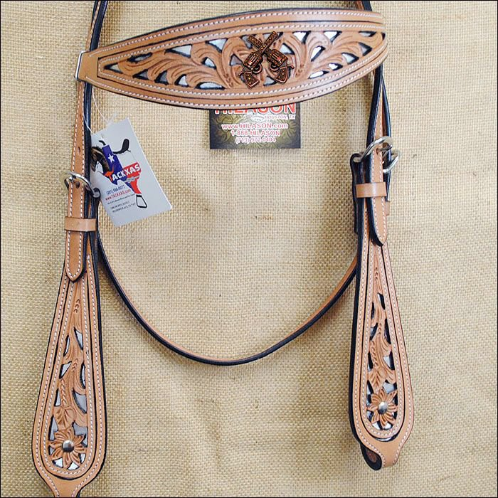 HILASON WESTERN LEATHER HORSE BRIDLE HEADSTALL TAN W/ CROSS GUN CONCHO