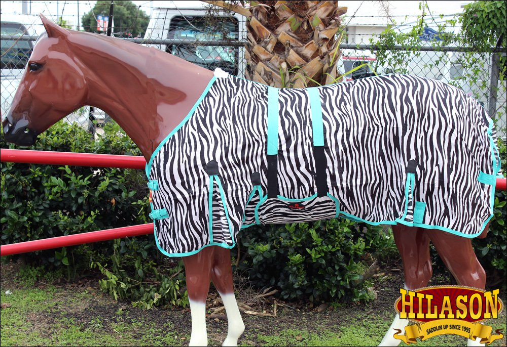 "69"" HILASON UV PROTECT AIRFLOW MESH HORSE FLY SHEET W/ BELLY STRAP ZEBRA"