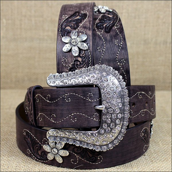 "32"" JUSTIN BROWN COUNTY DAISY WESTERN LEATHER LADIES BELT RHINESTONE"