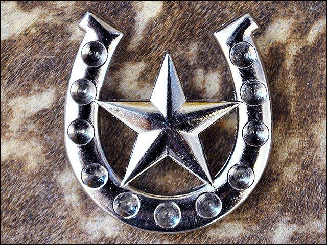 SET OF 8 NICKEL FINISH HORSESHOE STAR DESIGN CONCHO HEADSTALL SADDLE COWGIRL