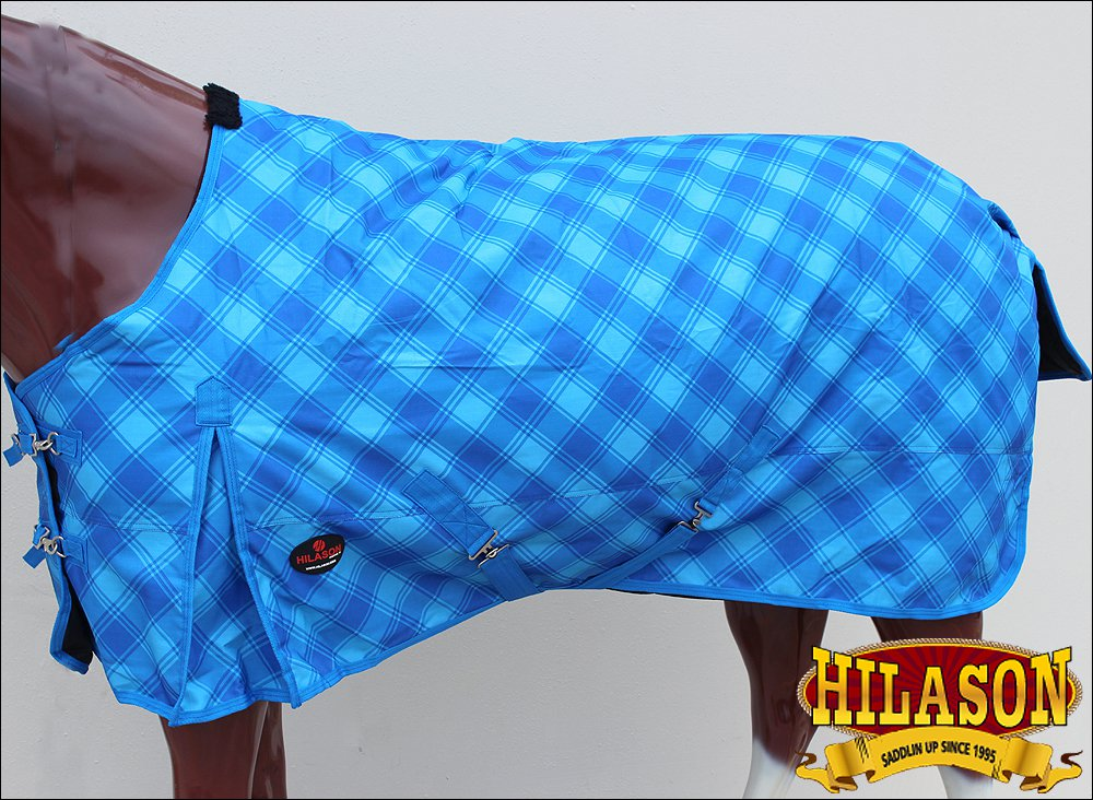 "81"" HILASON 1200D WINTER WATERPROOF 400GSM POLY TURNOUT HORSE BLANKET BLUE PA"