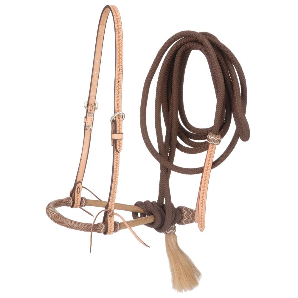 TOUGH 1 BASKETWEAVE BOSAL HANGER, BOSAL AND CORD MECATE BROWN