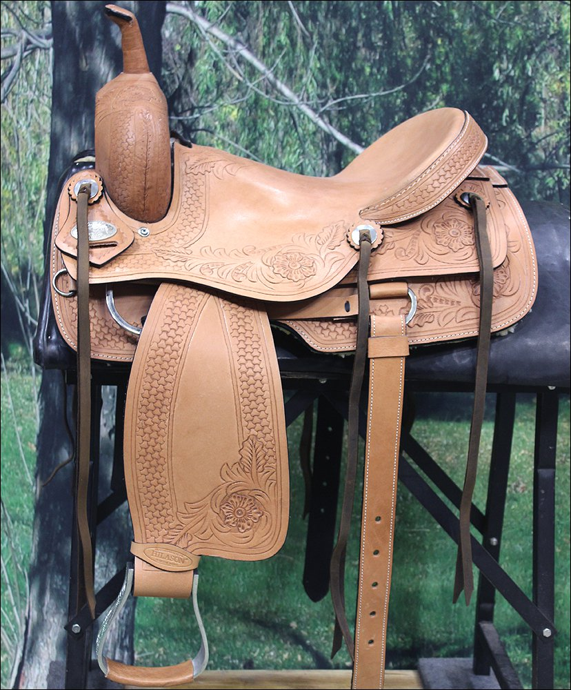 "OS712-F HILASON WESTERN CUTTING CUTTER ROPING RANCH TRAIL COWBOY SADDLE 16"" 17"""