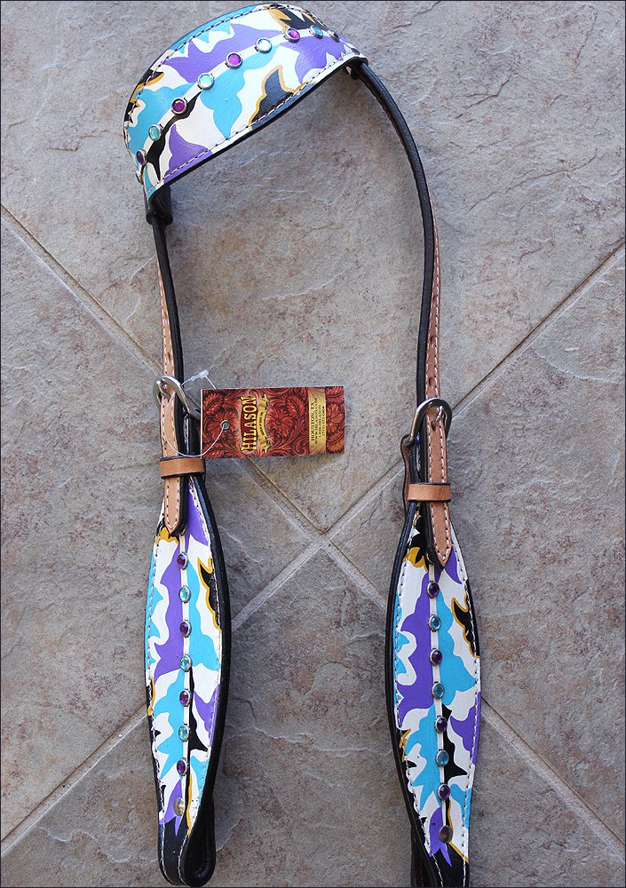 HILASON WESTERN LEATHER ONE EAR BRIDLE HEADSTALL HAND PAINT INDIAN FEATHER