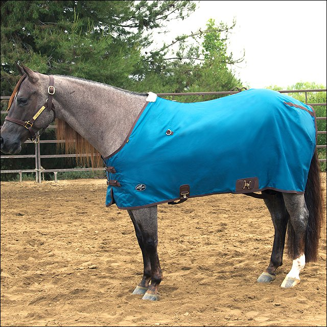 """82"""" PROFESSIONAL CHOICE 420D BREATHABLE HORSE NYLON DAY SHEET TEAL CHOCOLATE"""