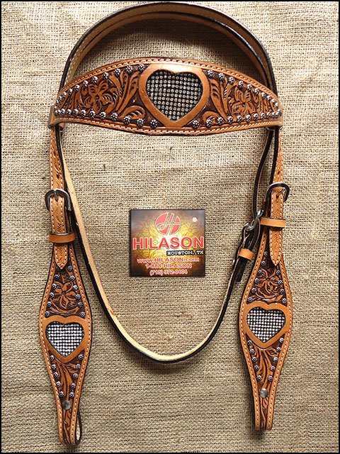 S436 HILASON WESTERN LEATHER HORSE BRIDLE HEADSTALL DARK OIL W/ BLING INLAY