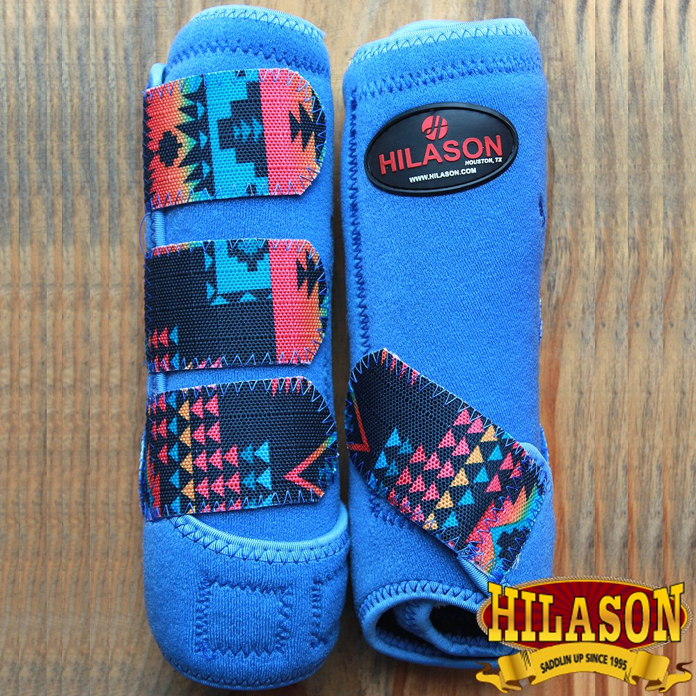 SMALL HILASON AZTEC BLUE HORSE REAR LEG PROTECTION ULTIMATE SPORTS BOOTS PAIR