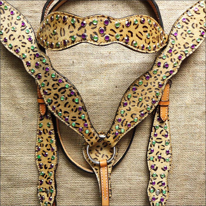 V1 HILASON WESTERN CHEETAH LEOPARD LEATHER HORSE HEADSTALL BRIDLE BREAST COLLAR