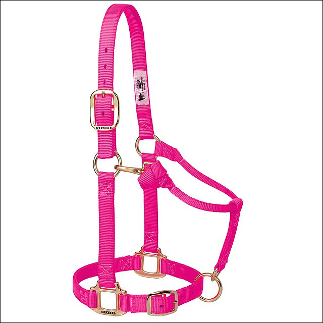 WEAVER PINK HORSE NYLON HEAT SEALED BUCKLE HALTER ADJUSTABLE SMALL HORSE