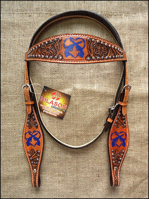 HILASON WESTERN LEATHER BROWN INLAY HEADSTALL BRIDLE TAN BLUE CROSS GUN