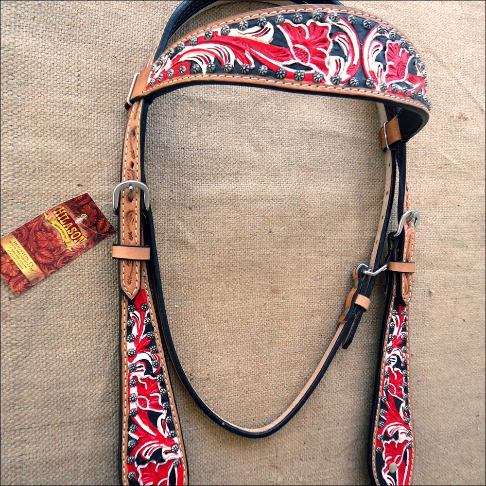 HILASON WESTERN LEATHER BRIDLE HEADSTALL FLORAL TOOL HAND PAINT BLACK RED WHITE