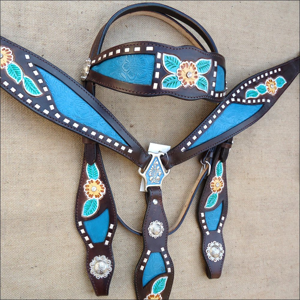 WESTERN LEATHER HORSE BRIDLE HEADSTALL BREAST COLLAR SET FLORAL BROWN TURQUOISE