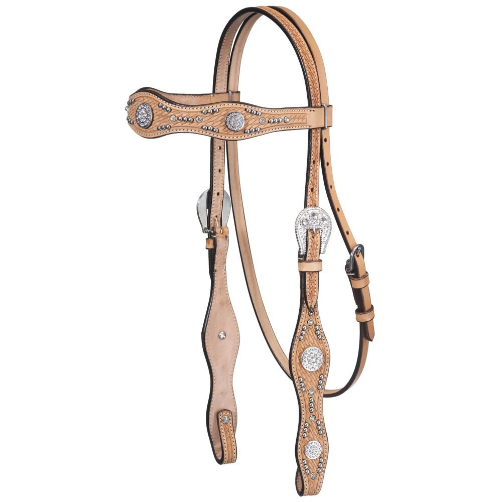 TOUGH 1 PREMIUM NASHVILLE BASKET TOOLED STRAIGHT BROW HEADSTALL LIGHT OIL