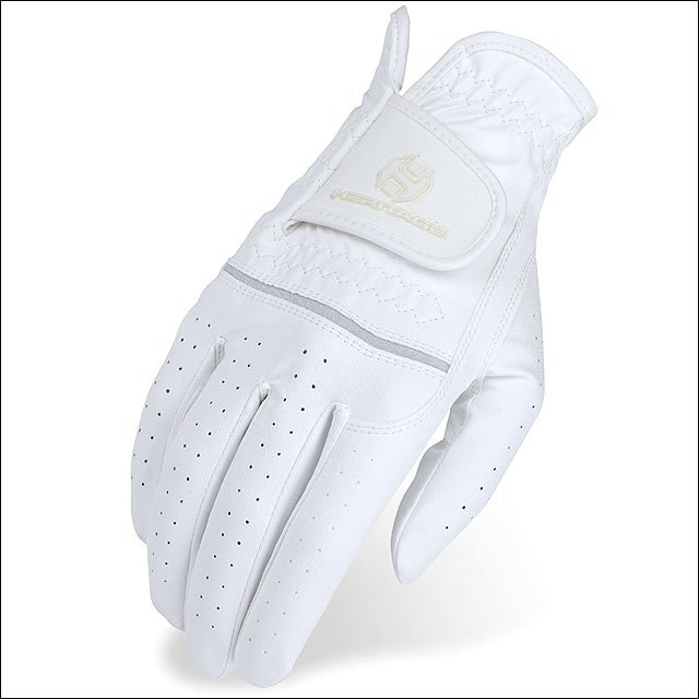 11 SIZE HERITAGE LEATHER PREMIER SHOW HORSE RIDING EQUESTRIAN GLOVE WHITE