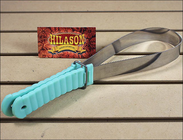 LIME HILASON WESTERN HORSE TACK ANIMAL SHEDDING BLADE WITH RIBBED HANDLE