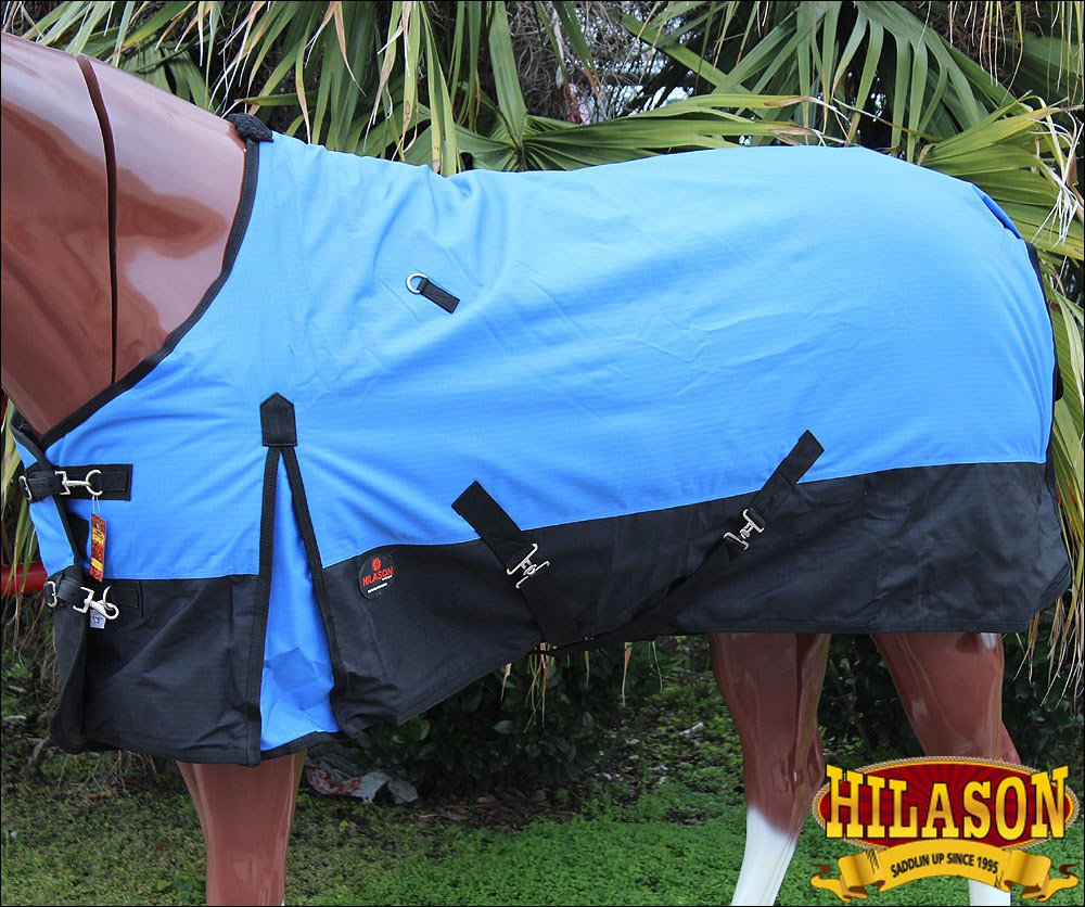"74"" HILASON 600D WINTER WATERPROOF POLY TURNOUT HORSE BLANKET BLUE BLACK"