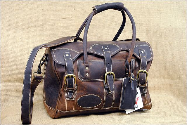 KD STEPHENS TRAVEL LUGGAGE DUFFLE GYM LEATHER BAGS - COFFEE BROWN