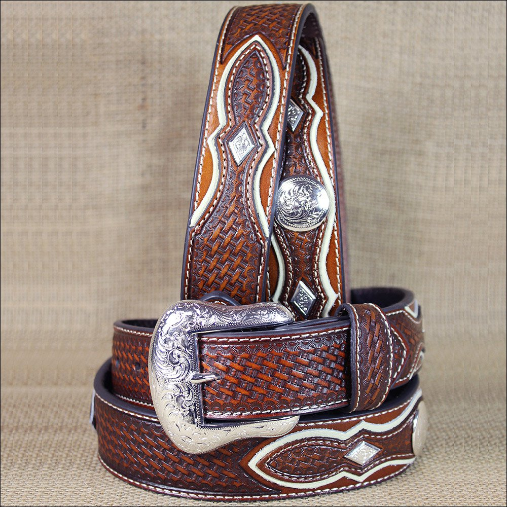 WESTERN NOCONA MENS BELT TOOLED DIAMOND SILVER CONCHOS COPPER 32-46 INCHES