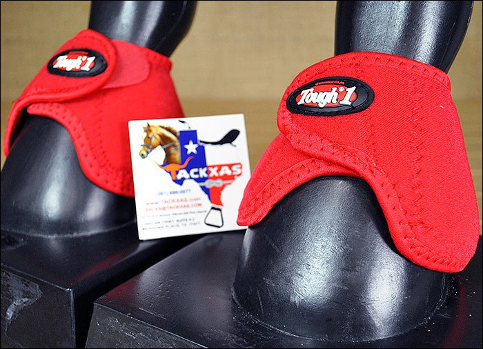 LARGE TOUGH 1 NO TURN QUICK WRAP EXTREME VENTED NEOPRENE HORSE BELL BOOTS RED