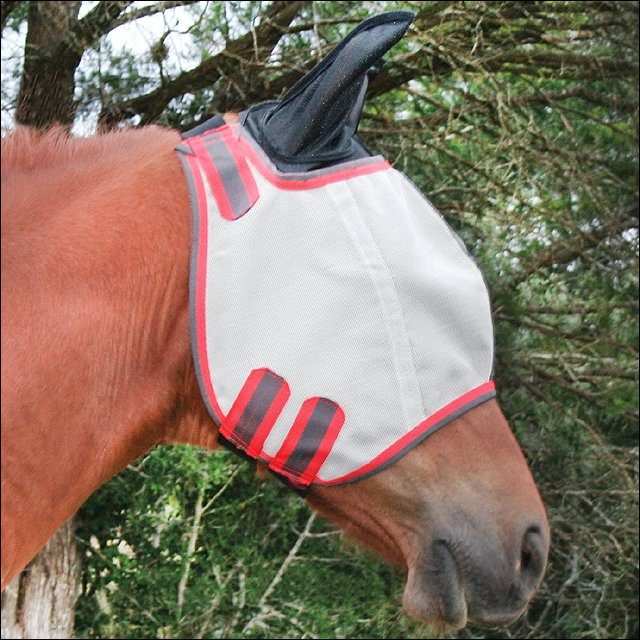 REINSMAN SOFT TRIM ADJUSTABLE ELASTIC HORSE FLY MASK WITH EARS