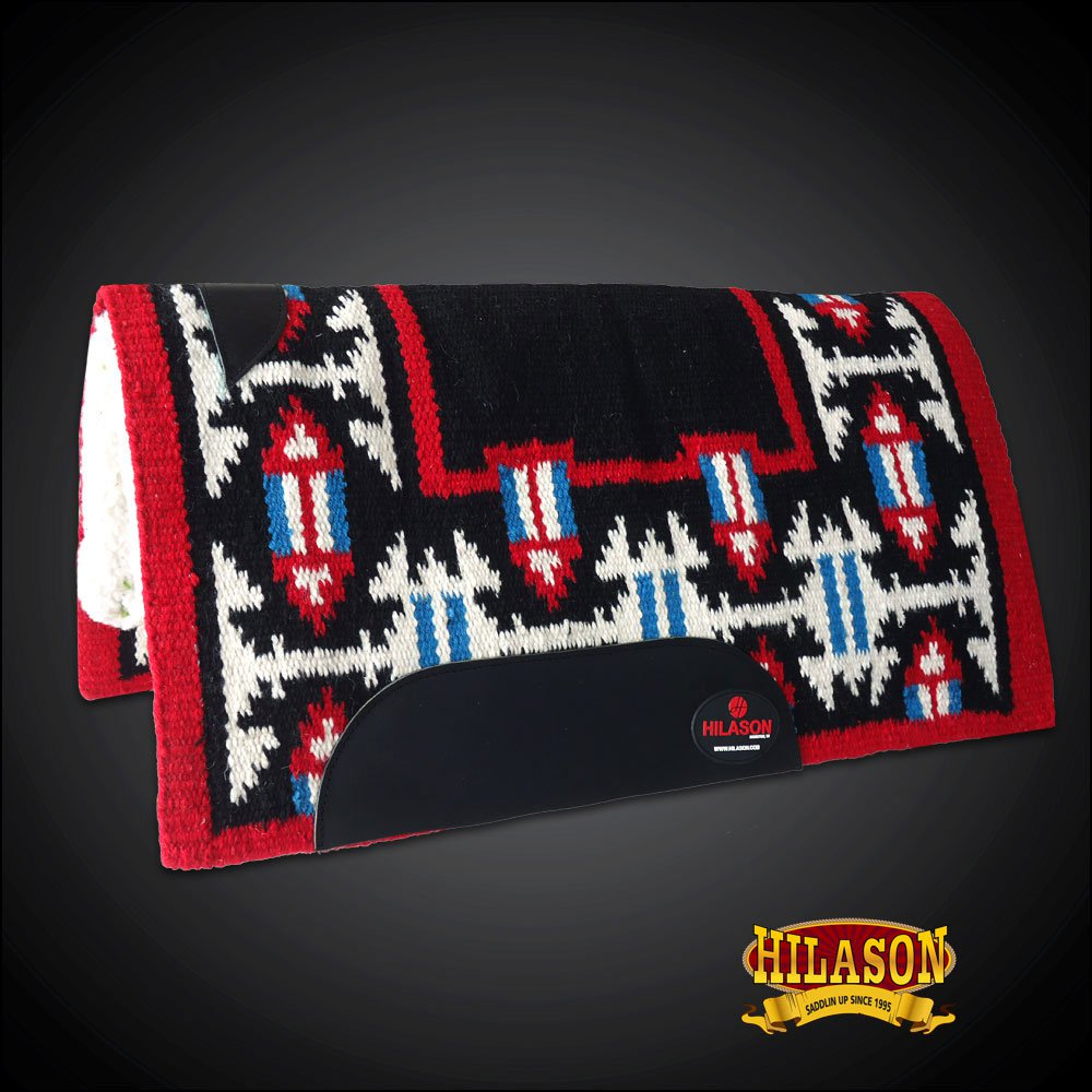 MADE IN USA FE344F- HILASON WESTERN SHOW WOOL FELT SADDLE BLANKET PAD RED BLACK