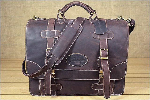BC140F GLANOR RUSTIC VINTAGE LEATHER BRIEFCASE BACKPACK LAPTOP BAG - COFEE BROWN